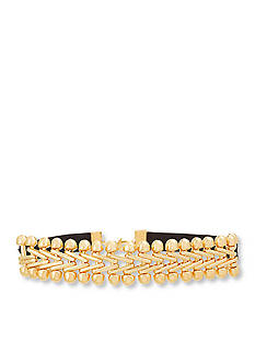 Steve Madden Gold-Tone Stainless Steel Black Velvet 'V' Link Chain Choker Necklace