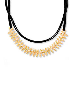 Steve Madden Gold-Tone Stainless Steel Black Suede Wrap Around Choker