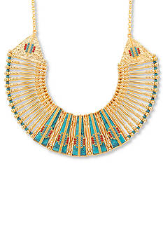 Steve Madden Gold-Tone Stainless Steel Beaded Bib Necklace