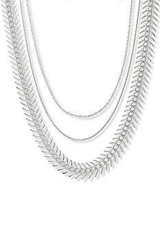 Steve Madden Silver-Tone Stainless Steel 3-Piece Chain Choker Set