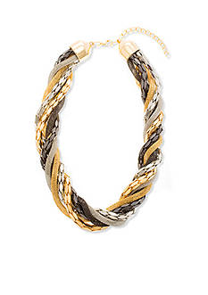 Steve Madden Tri-Tone Braided Torsade Necklace