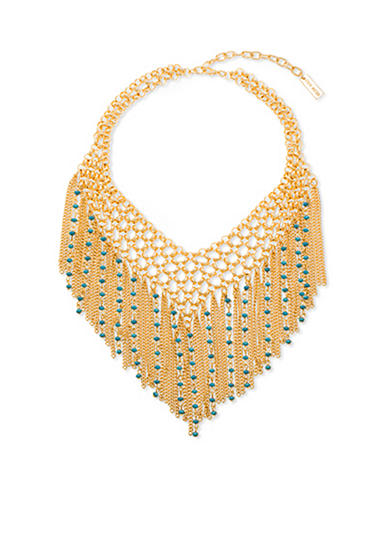 Steve Madden Cascading Chain And Bead Statement Necklace