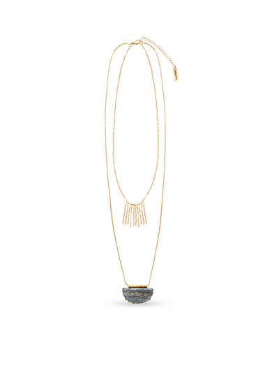 Steve Madden 2 Row Crescent Stone Fringe Necklace