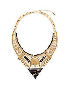 Steve Madden Shimmer Stone Tribal Bib Necklace