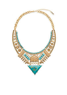Steve Madden Shimmer Stone Tribal Bib Necklace