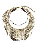 Steve Madden Leaf Fringe Choker Necklace
