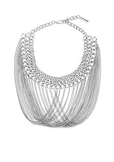 Steve Madden Interlocking Fringe Bib Necklace