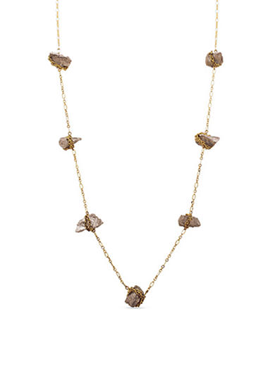 Steve Madden Raw Stone Station Necklace
