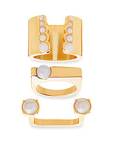 Steve Madden Gold-Tone Stainless Steel 3-Piece Freshwater Pearl Ring Set