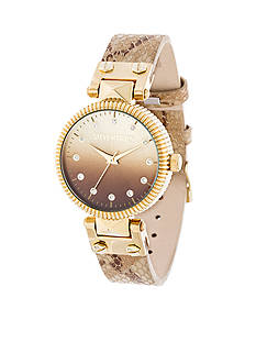 Steve Madden Women's Gold-Tone Ombre Dial Snakeskin Leather Watch