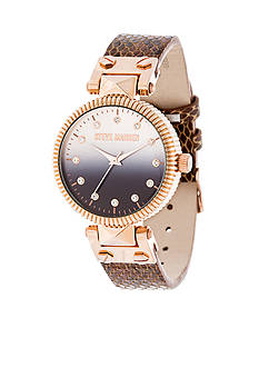 Steve Madden Women's Rose Gold-Tone Pyramid Hinge Gradient Snake Leather Watch