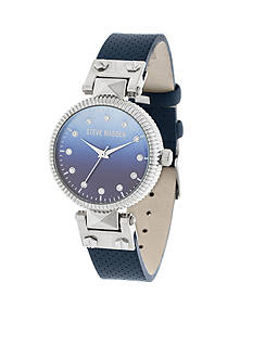 Steve Madden Women's Blue Ombre Dial Snakeskin Leather Watch