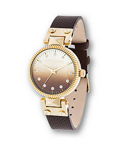 Steve Madden Women's Gold-Plated Pyramid Hinge Gradient Watch