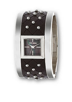 Steve Madden Women's Silver-Tone Studded Quilted Leather Bangle Watch