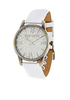 Steve Madden Women's Geo Dial Perforated Leather Watch