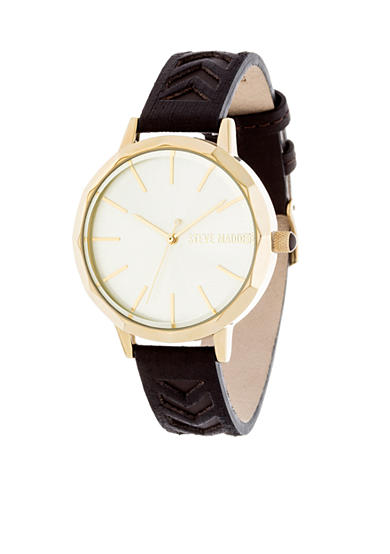 Steve Madden Women's Gold-Tone Black Cutout Leather Watch