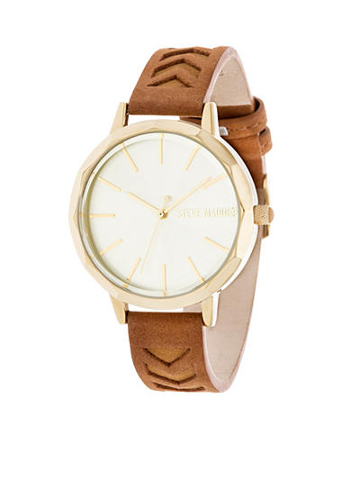 Steve Madden Women's Gold-Tone Cutout Tonal Leather Watch