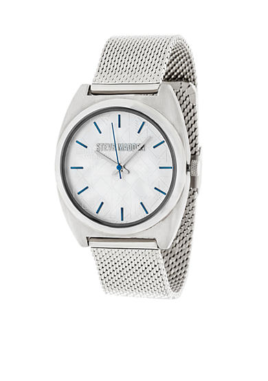 Steve Madden Women's Silver-Tone Tribal Dial Mesh Watch