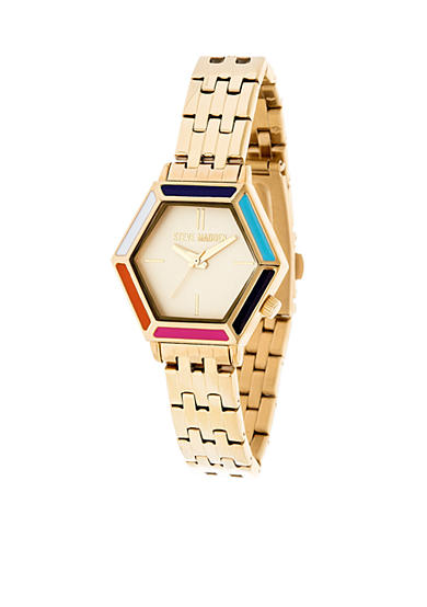 Steve Madden Women's Gold-Tone Hexagon Dial Mod Chain Link Watch