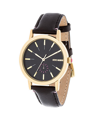 Steve Madden Women's Simple Pop Black Leather Watch