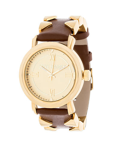 Steve Madden Women's Gold-Tone Pyramid Accented Brown Leather Watch