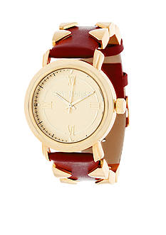 Steve Madden Women's Gold-Tone Pyramid Accented Red Leather Watch