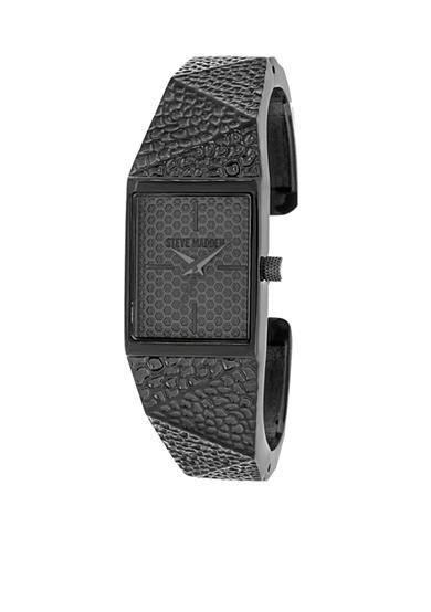 Steve Madden Women's Black-Tone Hammered Geo Metal Cuff Watch
