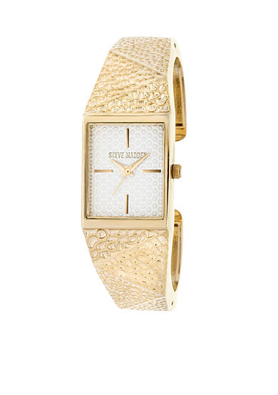 Steve Madden Women's Gold-Tone Hammered Geo Metal Cuff Watch