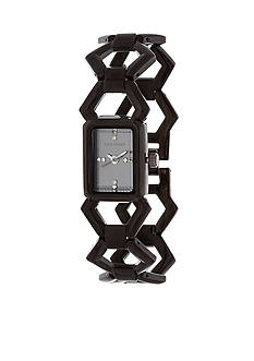 Steve Madden Women's Black-Tone Geo Link Watch