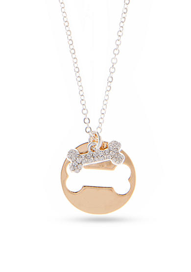 PET FRIENDS Two-Tone Bone Charm Pendant Necklace