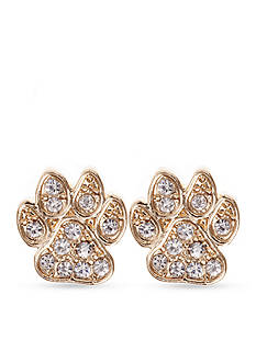 PET FRIENDS Crystal Paw Print Stud Earrings