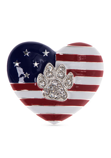 PET FRIENDS Silver-Tone Patriotic Paw Heart Pin