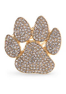 PET FRIENDS Gold-Tone Crystal Paw Pin