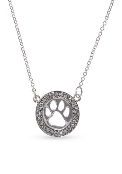 PET FRIENDS Silver-Tone Crystal Circle Paw Pendant Necklace
