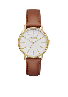 Chaps Women's Whitney Three-Hand Light Brown Leather Strap Watch