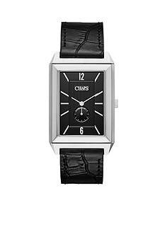 Chaps Men's Affiliate Rectangle Three-Hand Reversible Leather Watch