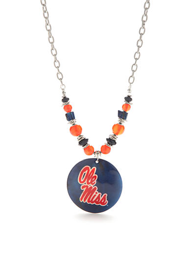 accessory PLAYS® Silver-Tone Ole Miss Rebels Large Shell Pendant Necklace