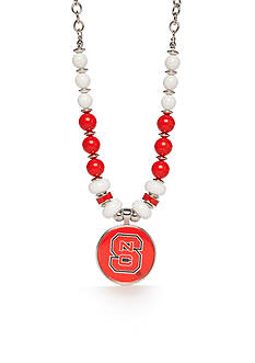 accessory PLAYS® Silver-Tone NC State Wolfpack Bead Collar Pendant Necklace