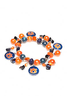 accessory PLAYS Silver-Tone Auburn Tigers Shell Charm Bracelet