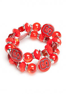 accessory PLAYS Silver-Tone NC State Wolfpack Two Row Beaded Bracelet
