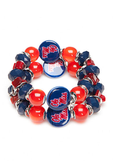 accessory PLAYS® Silver-Tone Ole Miss Rebels Two Row Beaded Bracelet
