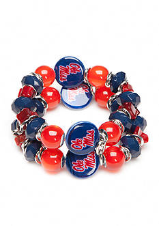 accessory PLAYS Silver-Tone Ole Miss Rebels Two Row Beaded Bracelet
