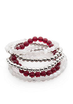 accessory PLAYS® Silver-Tone Mississippi State Bulldogs 5 Row Beaded Stretch Bracelet