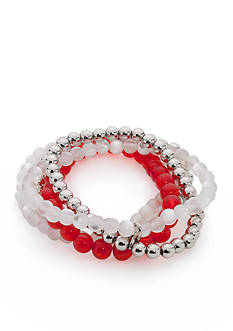 accessory PLAYS® Silver-Tone NC State Wolfpack 5 Row Beaded Stretch Bracelet