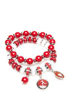 accessory PLAYS Silver-Tone Alabama Crimson Tide Two Row Beaded Bracelet Set