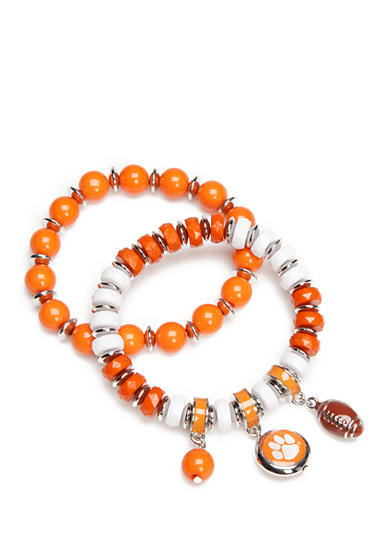 accessory PLAYS® Silver-Tone Clemson Tigers Two Row Beaded Charm Bracelet Set