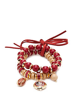 accessory PLAYS Gold-Tone Florida State Seminoles Two Row Beaded Bracelet Set