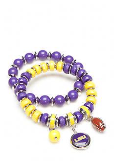 accessory PLAYS Silver-Tone LSU Tigers Stretch Charm Bracelet Set