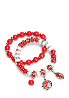 accessory PLAYS Silver-Tone NC State Wolfpack Two Row Beaded Charm Bracelet Set