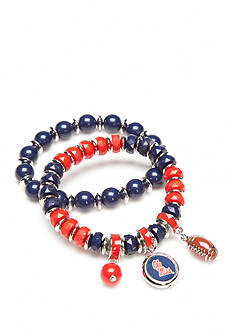 accessory PLAYS Silver-Tone Ole Miss Rebels Two Row Bead Charm Bracelet Set